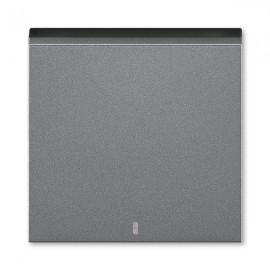 Kryt vypínače ABB LEVIT M jednoduchý s průzorem, ocelová / kouřová černá