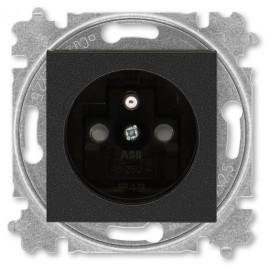 Zásuvka ABB LEVIT M s clonkami onyx / kouřová černá