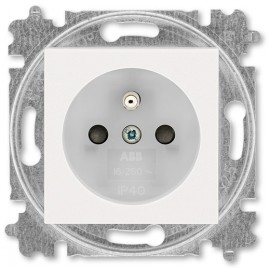 Zásuvka ABB LEVIT M s clonkami perleťová / ledová bílá
