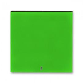 Kryt vypínače ABB LEVIT jednoduchý s průzorem, zelená / kouřová černá