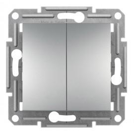 Vypínač Asfora č.5B dvojitý - střídavý, řazení 6+6, aluminium