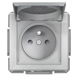 Zásuvka s krytkou Asfora IP44, aluminium