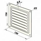 Větrací mřížka hliníková bez příruby 150 x 150 mm MVM150s Al