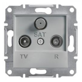 Zásuvka Asfora TV+R+SAT průběžná, aluminium