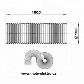 Vzt ventilační potrubí flexi EURO AL 150/1m