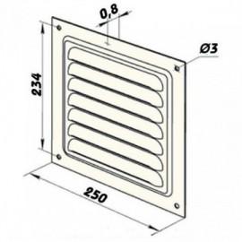 Větrací mřížka kovová  bez příruby 250 x 250 mm MVM250s bílá