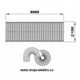Vzt ventilační potrubí flexi EURO AL 150/6m