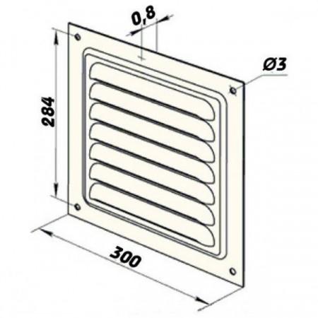 Větrací mřížka se žaluzií GR 400x400 mm