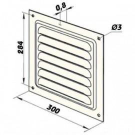 Větrací mřížka kovová  bez příruby 300 x 300 mm MVM300s bílá