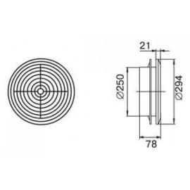 Odvětrávací mřížka stropní difusor průměr 250 mm MV250PFs