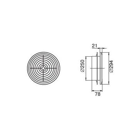 Větrací mřížka 250x250mm se žaluzií a přírubou 150mm