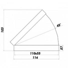 Koleno PVC 45° pro čtyřhranné potrubí horizontální 110 x 55 mm