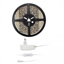 LED pásek s trafem a vypínačem 5m, 300lm/m, teplá bílá, IP20