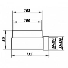 Redukce 90° z Ø100mm na potrubí čtyřhranné 234x29mm