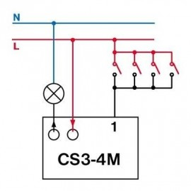 Časový spínač pod vypinač CS3-4M multifunkční