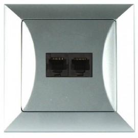 Zásuvka Opus datová 2x RJ45 stříbrná, pro internet