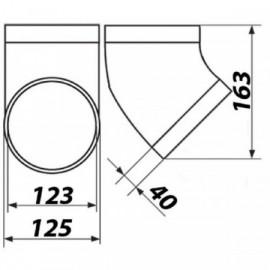 Koleno PVC 45° pro kruhové potrubí Ø 125 mm