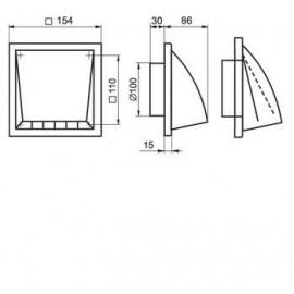 Ventilační mřížka 154x154mm/100mm MV102VK