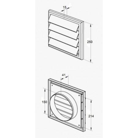 Spojka pro čtyřhranné PVC  potrubí 110x55 mm - vnější
