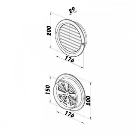 Axiální kovový ventilátor do potrubí VPI 200 mm