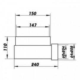 Redukce 90° z Ø150mm čtyřhranné 204x60mm - otočná