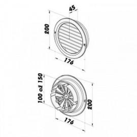 PVC mřížka s přírubou a mechanicky ovládanou žaluzií - Ø 100-150 mm, bílá
