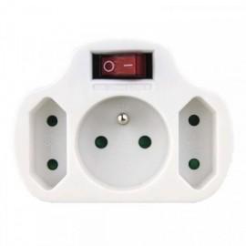 Rozbočka 2x plochá + 1x kulatá zásuvka s vypínačem
