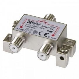Anténní rozbočovač s F konektory - dvojnásobný, Power pass