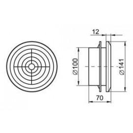 Odvětrávací mřížka stropní difusor průměr 100 mm MV100PFs