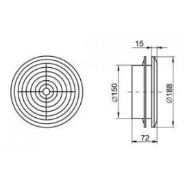 Odvětrávací mřížka stropní difusor průměr 150 mm MV150PFs