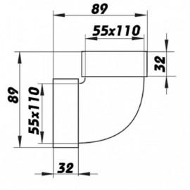 Koleno PVC 90° pro čtyřhranné potrubí vertikální 110 x 55 mm
