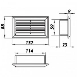 Vzduchotechnická mřížka pro ploché potrubí 110x55 mm PVC 571