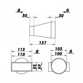 Redukce vodorovná Ø 100/110x55mm