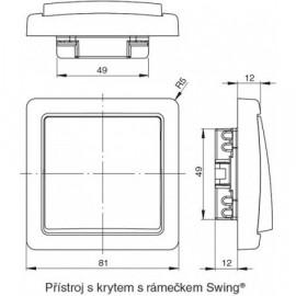 Ovládač Swing, Swing L zapín. s průz. bez rámečku ABB, 3557G-A91342 C1