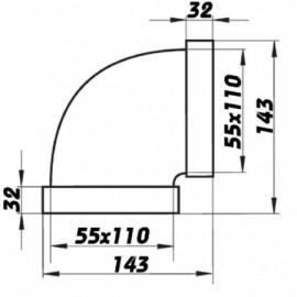 Koleno PVC 90° pro čtyřhranné potrubí horizontální 110 x 55 mm