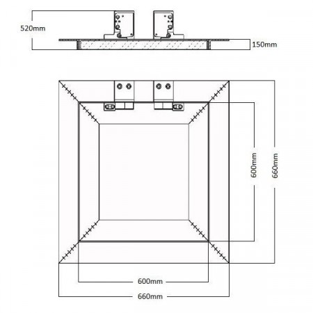 Revizní dvířka plastová RD 400x400 B
