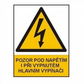 Značka výstrahy pozor pod napětím 90x120 mm