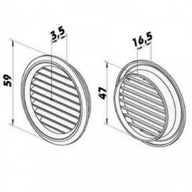 Větrací mřížka kruhová s přírubou Ø 50mm plastová hnědá 2ks