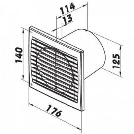 Ventilátor Dalap 125 PT - vysoký výkon, ložiska