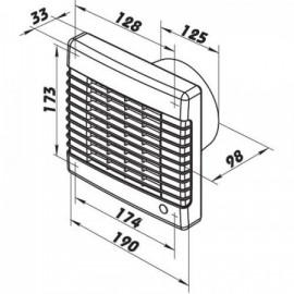 Ventilátor Dalap 125 LVLZ ECO - úsporný, žaluzie, časovač, tahový spínač