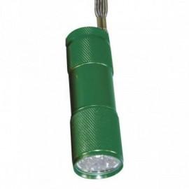 LED svítilna kovová, 9x LED, na 3x AAA  zelená