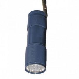 LED svítilna kovová, 9x LED, na 3x AAA  modrá