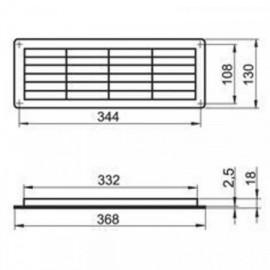 Větrací mřížka do dveří 368x130mm MV350R-regulovatelná