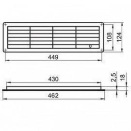 Větrací mřížka do dveří 462x124mm MV450R-regulovatelná