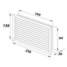 Větrací mřížka z vysoce kvalitního extrudovaného hliníku - 200x100 mm, bílá