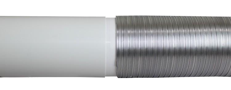 Spojení pevného plastového a flexibilního kovového vzt potrubí