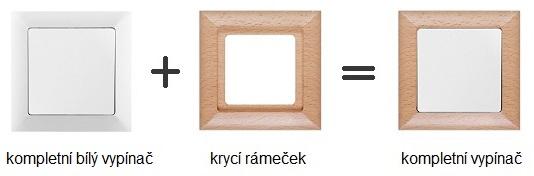 Bílý vypínač v dřevěném rámečku