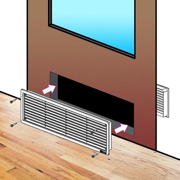 větrací mřížky do dveří 453 x 91 mm