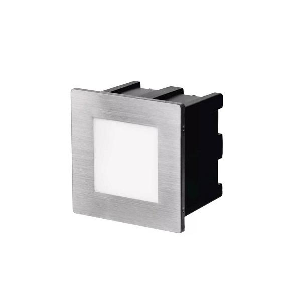 LED orientační vestavné svítidlo 80×80mm, 1,5W, IP65 neutrální bílá