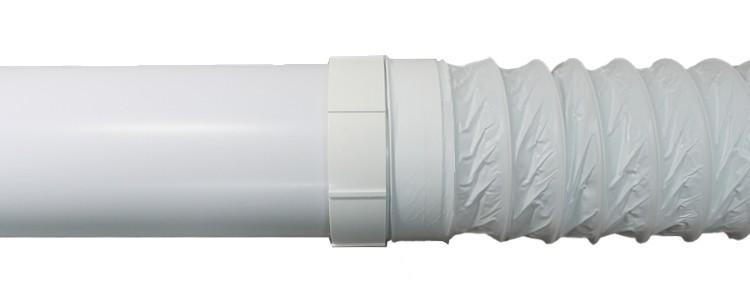 Přechod z ohebné plastové trubky Polyvent 102 mm na pevnou kruhovou 100 mm